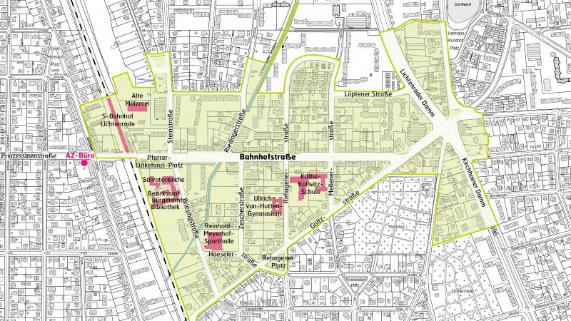 Karte Berlin Lichtenrade.Fordergebiet Aktives Zentrum Lichtenrade