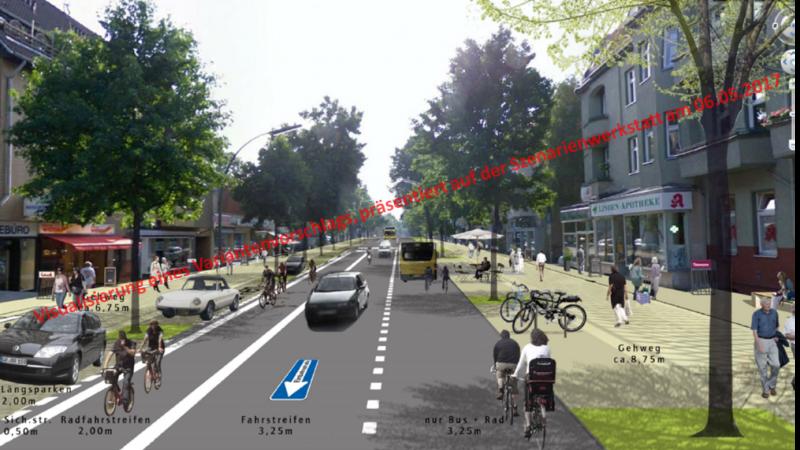 Visualisierung des Straßenraums, Variante B1