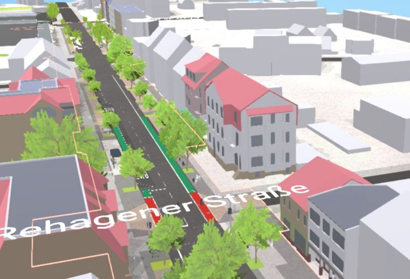 Blick über die umgebaute Bahnhofstraße in Richtung Westen in der Visualisierung (Quelle: formfollowsyou 2020)